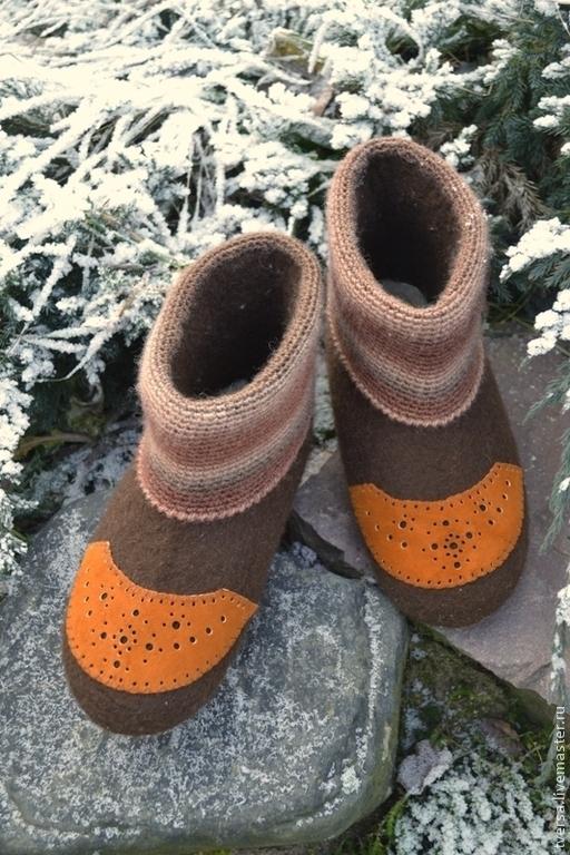 Обувь ручной работы. Ярмарка Мастеров - ручная работа. Купить Валенки ручной работы для дома ГОЛЬФСТРИМ. Handmade. Коричневый