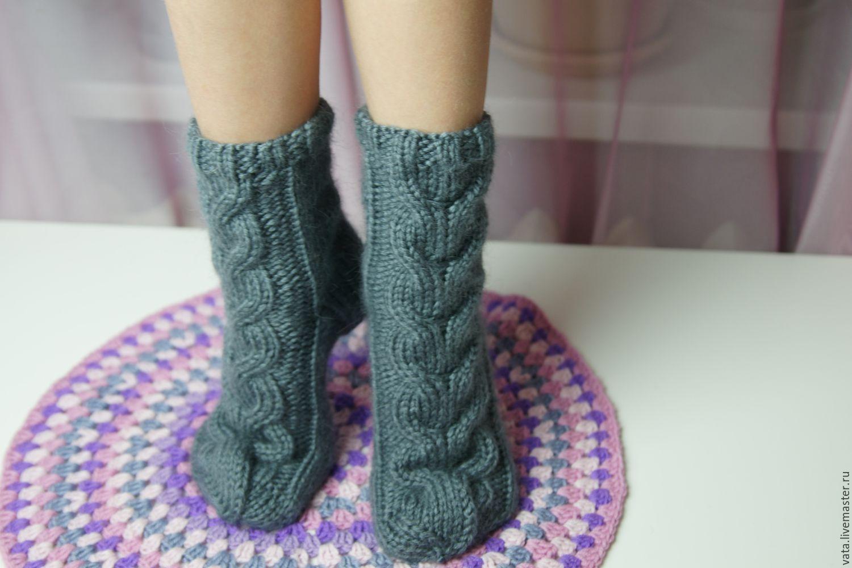 Вязание носок с косами 210