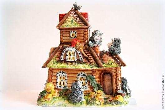 """Статуэтки ручной работы. Ярмарка Мастеров - ручная работа. Купить Фарфоровый домик-шкатулка """"Дом для скворца"""". Handmade. Разноцветный, семья"""