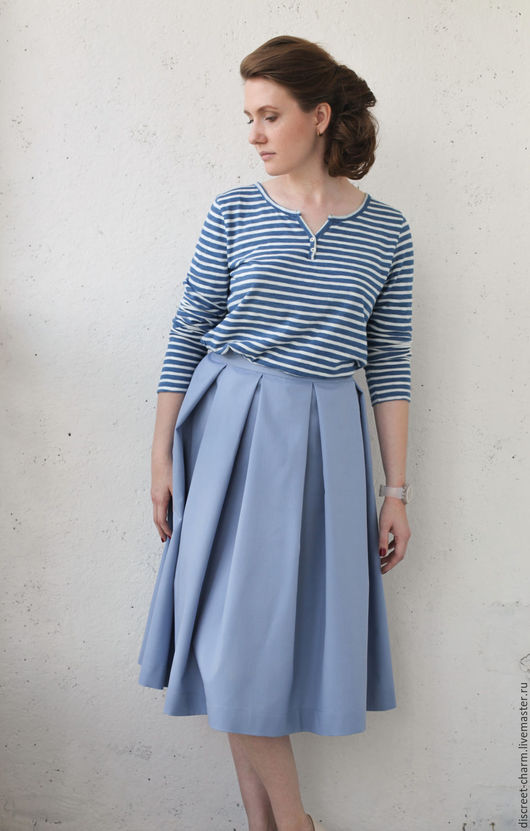 Юбки ручной работы. Ярмарка Мастеров - ручная работа. Купить Голубая юбка на поясе, в складку, в стиле 1950-х, костюмная шерсть. Handmade.
