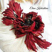 Украшения ручной работы. Ярмарка Мастеров - ручная работа Брошь из кожи. Цветок красной розы. Роза из кожи.. Handmade.