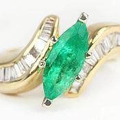 Украшения handmade. Livemaster - original item 1.70cts 14K Emerald Marquise Diamond Cocktail Ring, Emerald Marquise. Handmade.