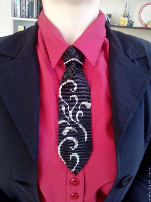 Колье, бусы ручной работы. Ярмарка Мастеров - ручная работа. Купить галстук. Handmade. Черный, колье, галстук