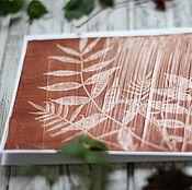 Открытки ручной работы. Ярмарка Мастеров - ручная работа Открытка с ботаническим принтом в технике монотипии. Handmade.