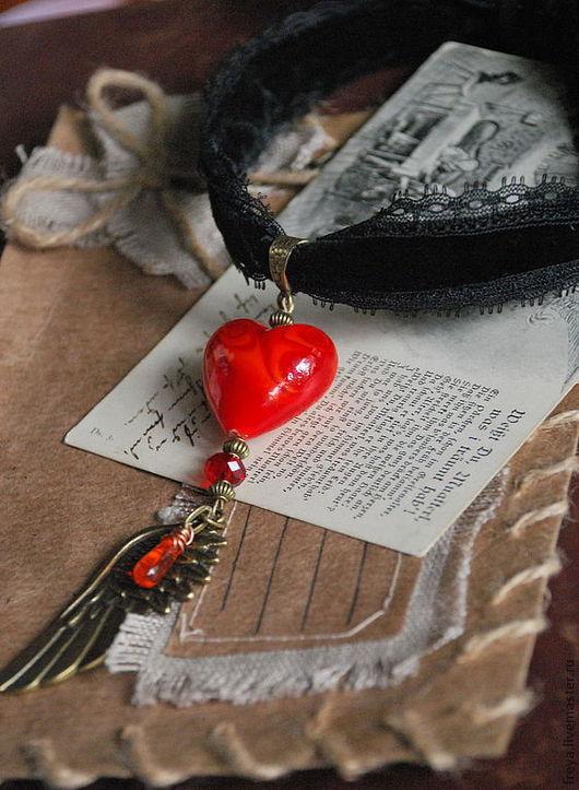 """Колье, бусы ручной работы. Ярмарка Мастеров - ручная работа. Купить Бархотка """" Vampire heart"""". Handmade. Сердце, сердечко"""
