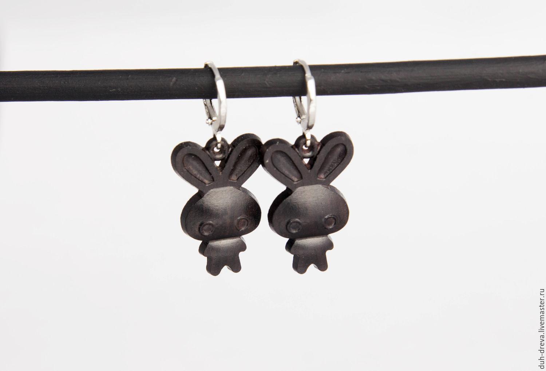Small wooden rabbit earrings, Earrings, Vladimir,  Фото №1