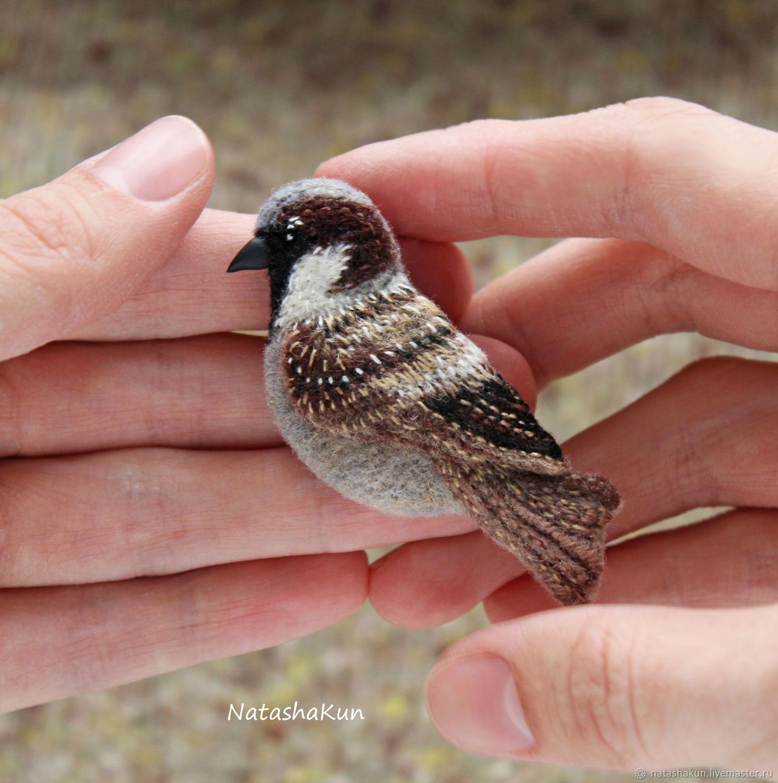 Brooch 'Good Sparrow', felt brooch, Brooches, Ust-Ilimsk,  Фото №1