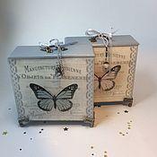 Шкатулки ручной работы. Ярмарка Мастеров - ручная работа Короб «Бабочки», 2 цвета. Handmade.