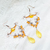Украшения handmade. Livemaster - original item Copper wire wrapped earrings - long chandelier Bright yellow Sun. Handmade.