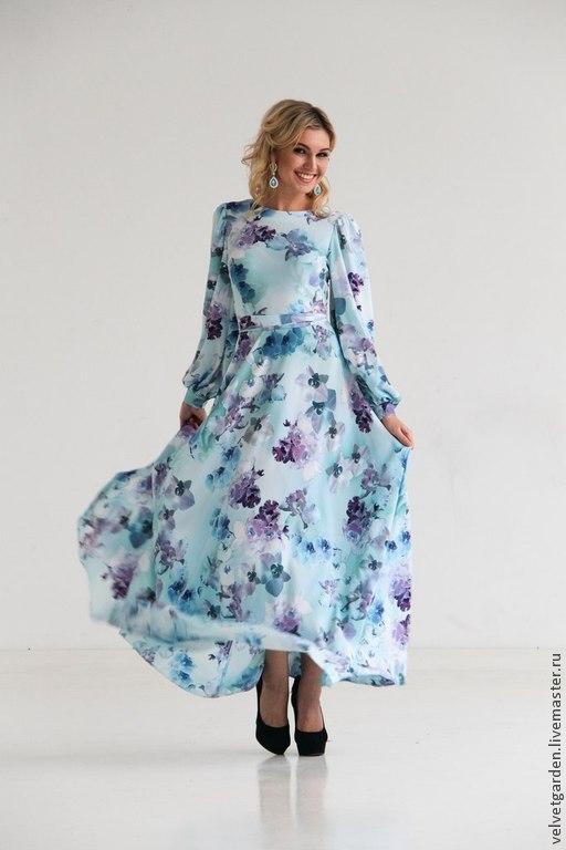 Блузки ручной работы. Ярмарка Мастеров - ручная работа. Купить Нарядное длинное платье из шифона Любовь в небесах. Handmade. Голубой
