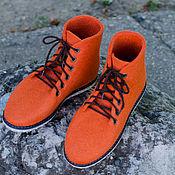 """Обувь ручной работы. Ярмарка Мастеров - ручная работа Ботинки из войлока """"UltraОrange"""". Handmade."""