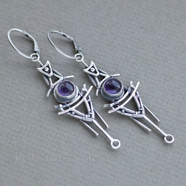 Shuttle - Sterling silver dangle earrings with amethyst cabochons, Earrings, Tallinn,  Фото №1