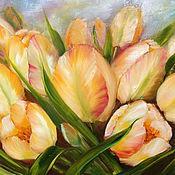 Картины и панно ручной работы. Ярмарка Мастеров - ручная работа Картина маслом Желтые тюльпаны. Handmade.