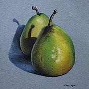 Картины и панно ручной работы. Ярмарка Мастеров - ручная работа Картина пастелью Зеленые груши. Handmade.