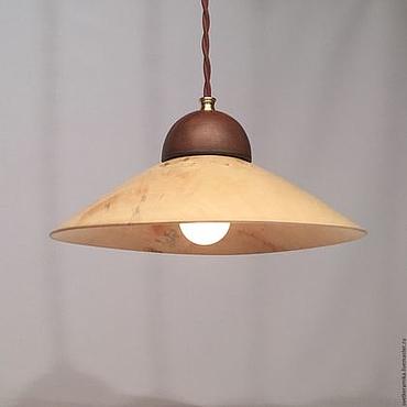 Для дома и интерьера ручной работы. Ярмарка Мастеров - ручная работа Светильник из дерева и керамики (диаметр 33 см). Handmade.