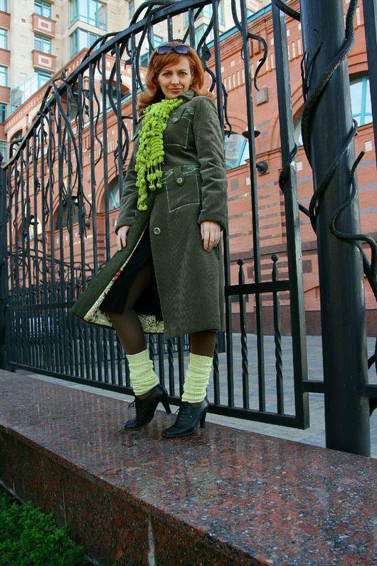 """Верхняя одежда ручной работы. Ярмарка Мастеров - ручная работа. Купить Пальто утепленное """"Апрель"""". Handmade. Оливковый, вельвет"""
