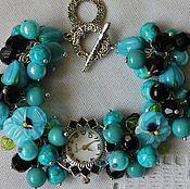 handmade. Livemaster - original item Bracelet watch quartz lampwork with Turquoise variscite.. Handmade.