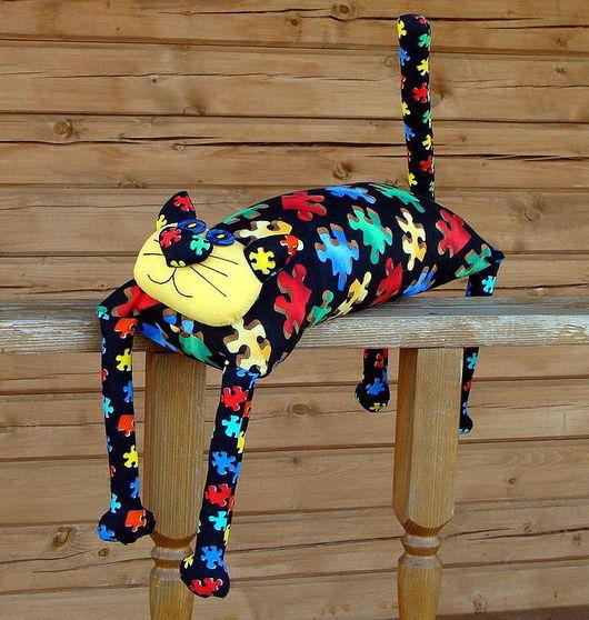 """Детская ручной работы. Ярмарка Мастеров - ручная работа. Купить Игрушка-подушка """"Радужный кот"""" черный пазл. Handmade. котик"""