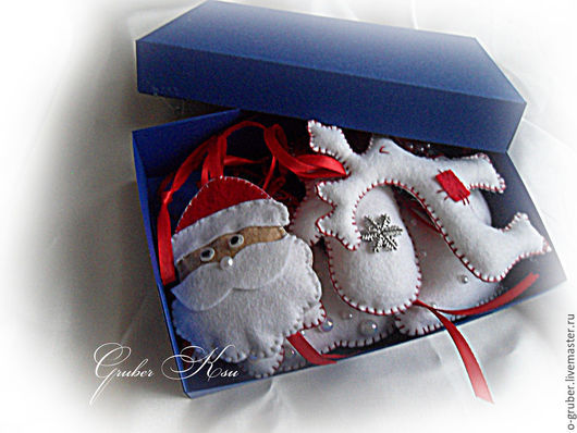 """Новый год 2017 ручной работы. Ярмарка Мастеров - ручная работа. Купить Елочные игрушки из фетра """"Бело-красный"""". Handmade. Белый"""