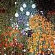Колье, бусы ручной работы. Цветы Климта на черном фоне. Сергеева Светлана. Ярмарка Мастеров. Стеклянный кулон, Муранское стекло
