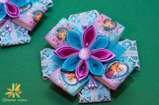 """Детская бижутерия ручной работы. Ярмарка Мастеров - ручная работа. Купить Заколочки """"Холодное сердце"""". Handmade. Комбинированный, канзаши"""