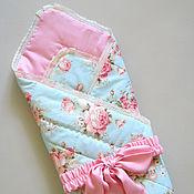 """Работы для детей, ручной работы. Ярмарка Мастеров - ручная работа Летнее одеяло-конверт на выписку для новорожденного """"Пионы"""". Handmade."""