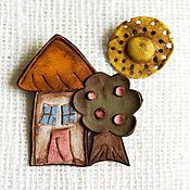 "Brooches handmade. Livemaster - original item Brooch from leather ""Joyful House"". Handmade."