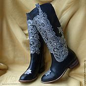 """Обувь ручной работы. Ярмарка Мастеров - ручная работа Роспись по обуви. Сапоги """"Кружевной иней"""". Handmade."""