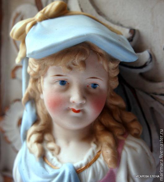 """Винтажные предметы интерьера. Ярмарка Мастеров - ручная работа. Купить бюст """"Девочка в голубом головном уборе"""""""". Handmade. Голубой, бюст"""