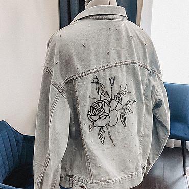 Одежда ручной работы. Ярмарка Мастеров - ручная работа Динсовая куртка с кристаллами и вышивкой Роза. Handmade.
