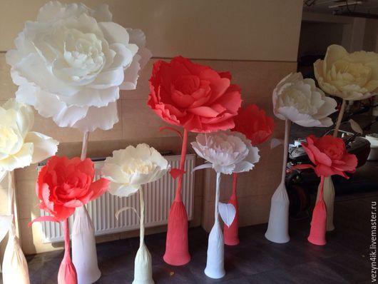 Свадебные цветы ручной работы. Ярмарка Мастеров - ручная работа. Купить Цветок из бумаги стоящий на полу из гофры. Handmade.