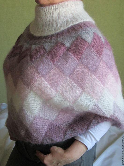 Пончо ручной работы. Ярмарка Мастеров - ручная работа. Купить Пончо -трансформер  Сиреневый туман (накидка осень зима кид мохер). Handmade.