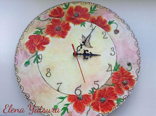 """Часы для дома ручной работы. Ярмарка Мастеров - ручная работа. Купить Настенные часы """"Маковый цвет"""". Handmade. Маки"""