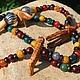 """Винтаж: Африканские бусы """"Сафари"""" дерево,цветные бусины винтаж, Винтажные украшения, Краснодар, Фото №1"""