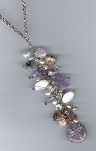 Necklaces & Beads handmade. Livemaster - handmade. Buy Necklace with natural stones and pearls.Necklace charoite