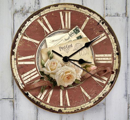 Часы для дома ручной работы. Ярмарка Мастеров - ручная работа. Купить часы настенные Ботаническая коллекция Розы. Handmade. Розовый