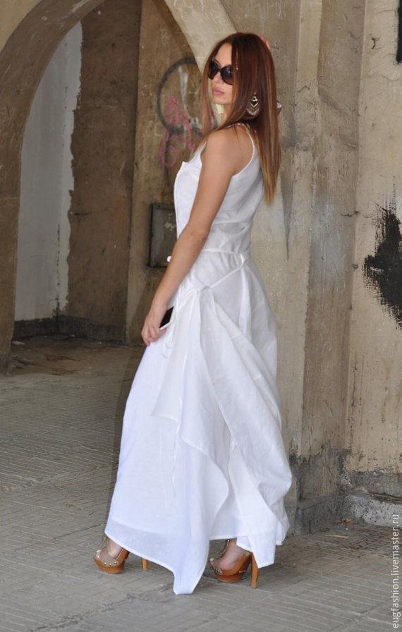 White dress. Dress. long dress. Floor-length dress. Dress for summer. Dress linen. Fair Masters.