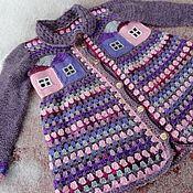 Работы для детей, ручной работы. Ярмарка Мастеров - ручная работа Детское вязаное пальто Домики. Handmade.