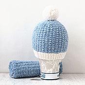 """Аксессуары ручной работы. Ярмарка Мастеров - ручная работа Вязаный комплект """"Голубой мрамор"""". Вязаная шапка. Комплект вязаный.. Handmade."""
