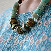 Работы для детей, handmade. Livemaster - original item Beads in ethno style of amazonite and agate In Goa. Handmade.