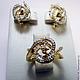 Комплекты украшений ручной работы. Заказать Комплект Золотое бриллиантовое кольцо серьги 585 пробы №2. GOLDJEWELRY-BK. Ярмарка Мастеров.