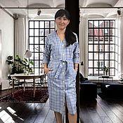 Одежда handmade. Livemaster - original item Blue check linen shirt dress. Handmade.