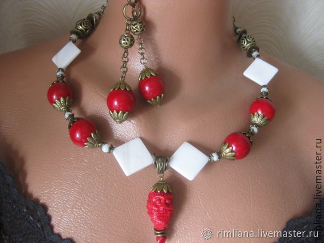 kit: Necklace and earrings 'Water' Natur. coral and mother of pearl, Chokers, Moscow,  Фото №1