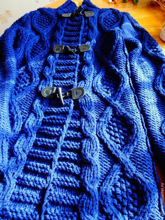 """Верхняя одежда ручной работы. Ярмарка Мастеров - ручная работа. Купить """"Синии АРАНЫ"""". Кардиган или пальто связаное косами. Handmade."""