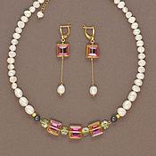 Украшения handmade. Livemaster - original item Pearl dream. A luxurious Necklace, earrings and bracelet. Pearls and Swarovski. Handmade.