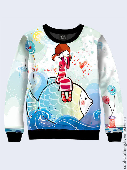 """Кофты и свитера ручной работы. Ярмарка Мастеров - ручная работа. Купить Свитшот """"Девочка на рыбе"""". Handmade. Разноцветный, свитшот женский"""