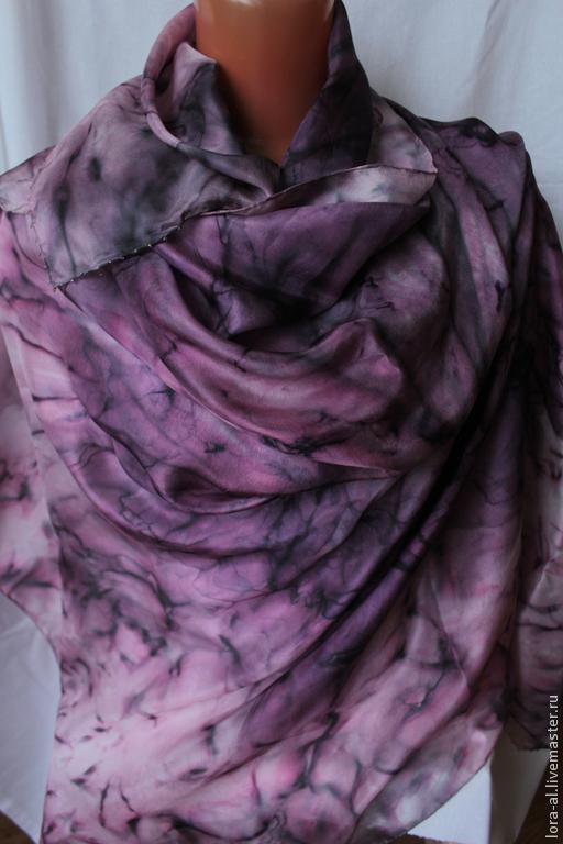 Шали, палантины ручной работы. Ярмарка Мастеров - ручная работа. Купить Шелковый  платок  Розовый  эльф. Handmade. Розовый