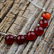 Украшения handmade. Livemaster - original item Silver mini necklace with carnelian