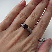 Украшения handmade. Livemaster - original item Ring with garnet and CZ. 925 sterling silver. Handmade.