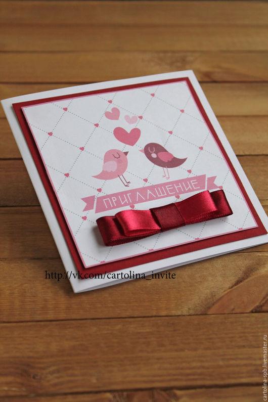 """Пригласительные ручной работы. Ярмарка Мастеров - ручная работа. Купить Приглашение на свадьбу """"Птички"""". Handmade. Бордовый, ягодный, Дизайнерский картон"""